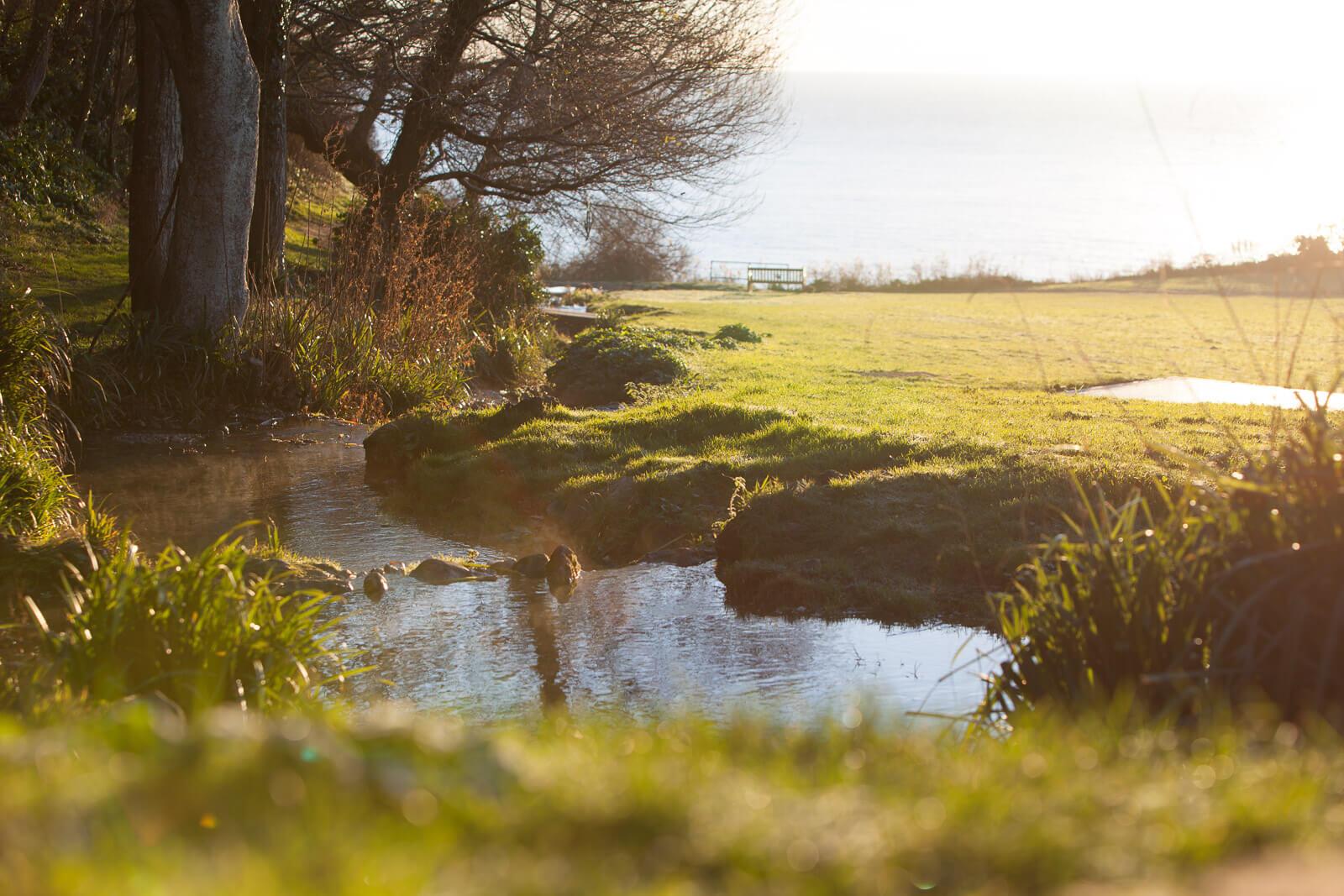 Aus einer Quelle gespeister Bach auf der Isle of Wight, England auf dem Weg ins Meer
